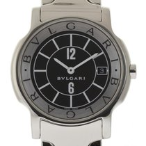 Bulgari Solotempo 35mm Large ST35S Stainless Steel Black...