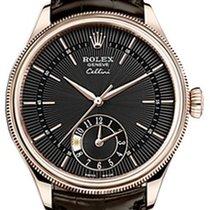 Rolex Cellini Dual Time 50525-0010 Black Guilloche Index Rose...