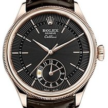 Rolex Cellini Dual Time 50525-0010 Black Guilloche Index Rose...