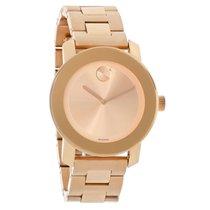 Movado Bold Ladies Rose Gold Tone Bracelet Swiss Quartz Watch...