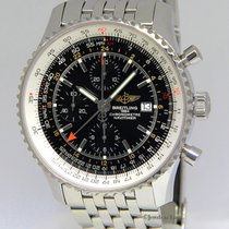 Breitling Navitimer World GMT Chrono Steel Black Dial Watch...