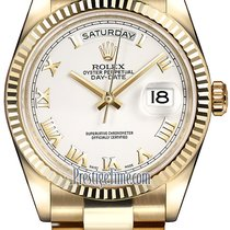 Rolex Day-Date 36mm Yellow Gold Fluted Bezel 118238 White...