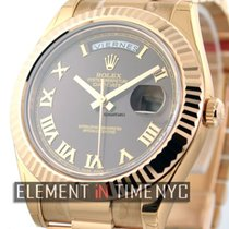 Rolex Day-Date II 18k Rose Gold Brown Roman Dial 41mm