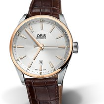 Oris CULTURA ARTIX DATE Rose Gold & Steel-Silver Dial-Brow...