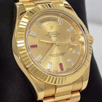 Rolex Day-date II President 218238 18k Y Gold Fact Ruby...