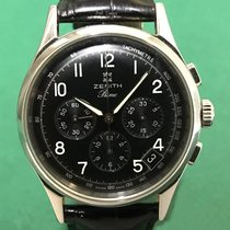 真利时  (Zenith) Prime Chronograph Black Dial with Leather Strap
