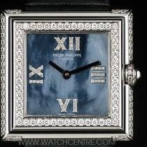 Patek Philippe 18k W/G Blue-Black MOP Dial Diamond Case...