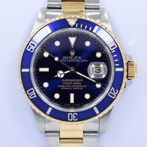Rolex Submariner 16613 Two Tone 18k Yellow Gold /steel Blue...