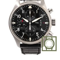 IWC Pilot Chronograph Black Dial Crocodile Leather NEW