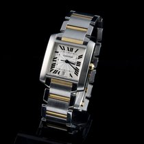 Cartier tank francaise stell and gold automatic men size
