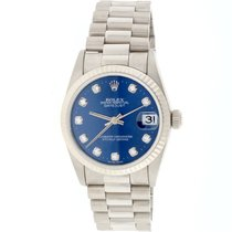 Rolex President Midsize White Gold Original Diamond Dial Watch