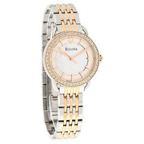 Bulova Diamond Ladies MOP Two Tone Bracelet Dress Quartz Watch...