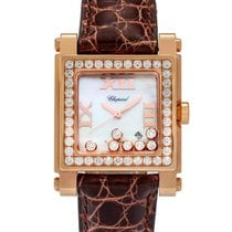 萧邦 (Chopard) 18K Rose Gold Happy Sport Square Quartz Diamond...