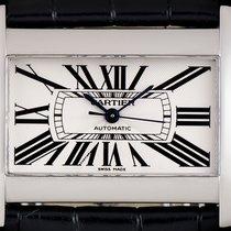 Cartier S/S Silver Guilloche Roman Dial Tank Divan B&P...