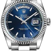 Rolex Day-Date 36mm White Gold Fluted Bezel 118239 Blue Index...