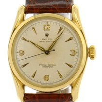 "Rolex 18k Oyster Perpetual ""Bombay Lugs"" Arabic..."