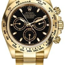 Rolex Daytona 18k Yellow Gold Watch Black Dial - 116508