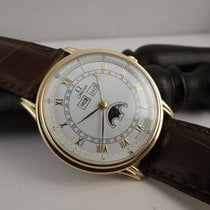 Omega 156.003 cal. 715 automatic moonphase triple date gold