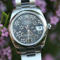 Rolex Ladies Midsize 31mm Datejust Steel 178240 Rhodium Floral...