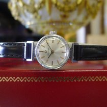 Omega Stainless Steel Rose Gold Markers Watch On Leather Strap