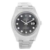 Rolex Datejust Ii Steel White Gold Diamond Mens Watch 116334...