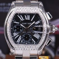 Cartier Roadster Mens Xl Chronograph Black W/ Custom Diamonds...