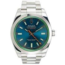 Rolex MILGAUSS 116400GV GREEN CRYSTAL BLUE DIAL ANNIVERSARY...