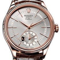 Rolex Cellini Dual Time 50525-0008 Silver Guilloche Index Rose...
