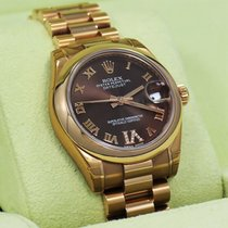 Rolex Datejust 31mm 178245f Rose Gold Chocolate Dial Diamond...