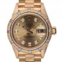 Rolex Datejust Lady Gelbgold Rindengravur Diamond Automatik...