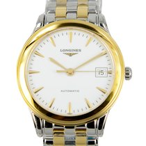 浪琴 (Longines) Flagship 18 K Yellow Gold White Automatic...