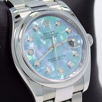 Rolex Datejust 116200 36mm Diamond Blue Mop Dial Oyster Watch...