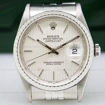 Rolex 16220 Datejust Silver Tapestry Dial SS Jubilee (26715)