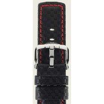 Hirsch Uhrenarmband Leder Carbon schwarz / rot L 02592052-2-24...