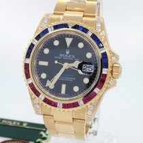 Rolex GMT-Master II 18K Solid Yellow Gold Diamonds / Rubies