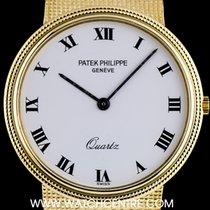 Patek Philippe 18k Y/G White Enamel Dial Quartz Vintage...