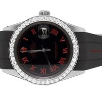 Rolex Sporty Custom Rolex Datejust Red/Black Rubber Band 36MM...
