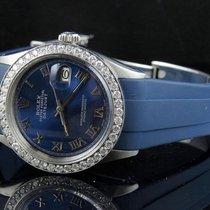 Rolex Sporty Custom Rolex Datejust Blue Dial Rubber Band 36MM...