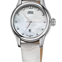 Oris Artelier Date Diamonds Nacre Dial White Leather