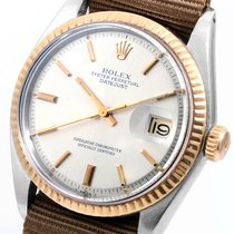 Rolex 1603 TT 36mm Datejust Silver Dial Brown Ale NATO Strap
