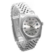 Rolex SS DATEJUST Silver Diamond Dial 36mm 16014 Quickset...