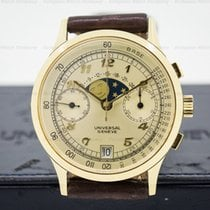 宇宙 (Universal Genève) Vintage Moonphase Chronograph 18K Yellow...