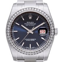 Rolex Datejust 36 Weißgold Diamant Lünette 116244 Blau Oyster-B