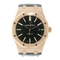 Audemars Piguet AP Royal Oak 37 Rose Gold Black Leather Strap