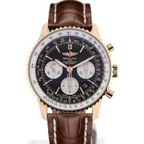 Breitling Navitimer 01 43 Gold Case Brown Crocodile Leather...