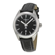 Tissot PR100 Black Dial Black Leather Ladies Watch