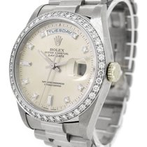 Rolex Oyster Perpetual 18K White Gold Day-Date 18349A, Diamond...