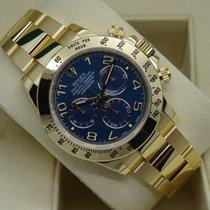 롤렉스 (Rolex) Daytona 116528 18K Yellow Gold Bracelet RARE BLUE...