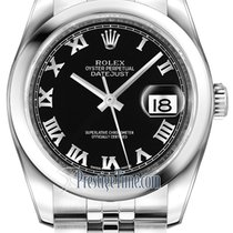 Rolex Datejust 36mm Stainless Steel 116200 Black Roman Jubilee