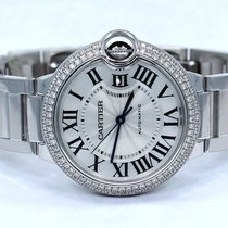 Cartier Ballon Bleu We9006z3 18k White Gold 36mm Fact Diamond...